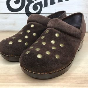 LUCKY BRAND Brown Suede Clogs With Bronze Studs